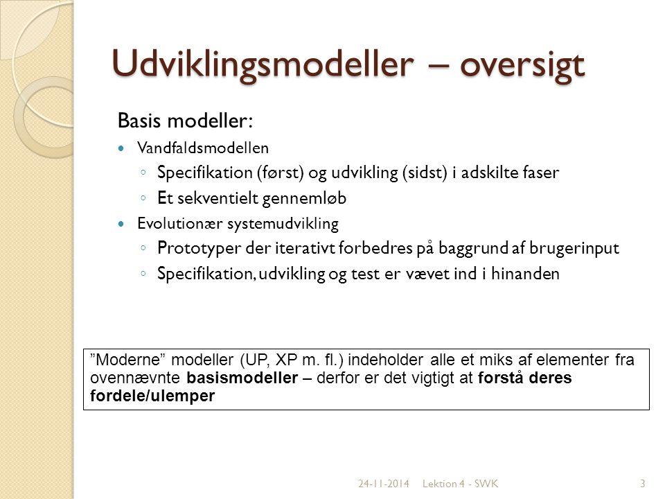 Udviklingsmodeller – oversigt