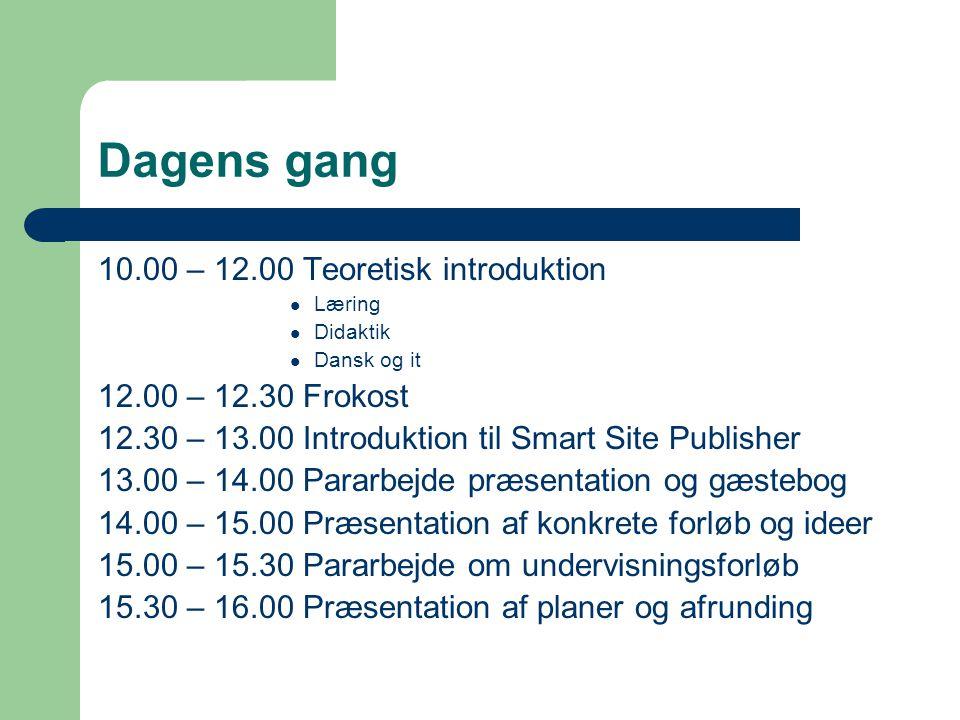 Dagens gang 10.00 – 12.00 Teoretisk introduktion 12.00 – 12.30 Frokost