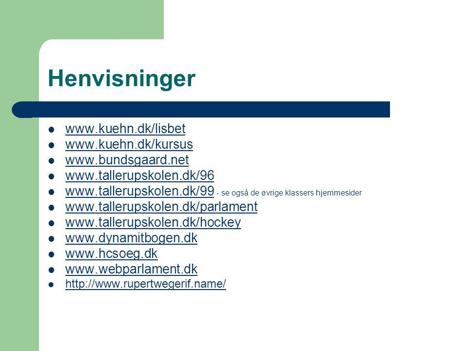 Henvisninger www.kuehn.dk/lisbet www.kuehn.dk/kursus
