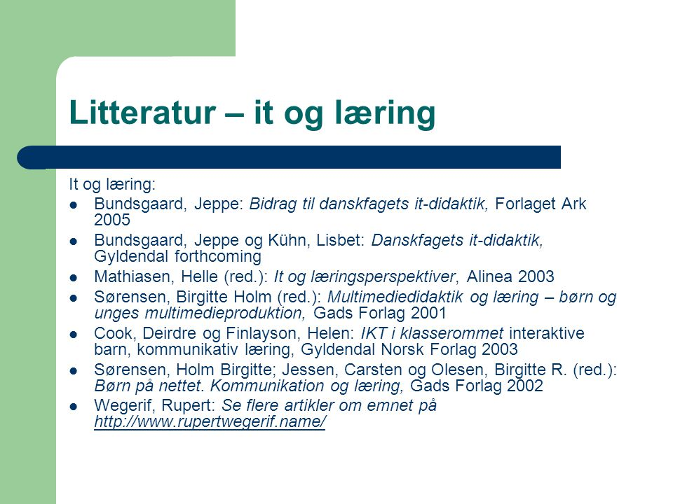 Litteratur – it og læring
