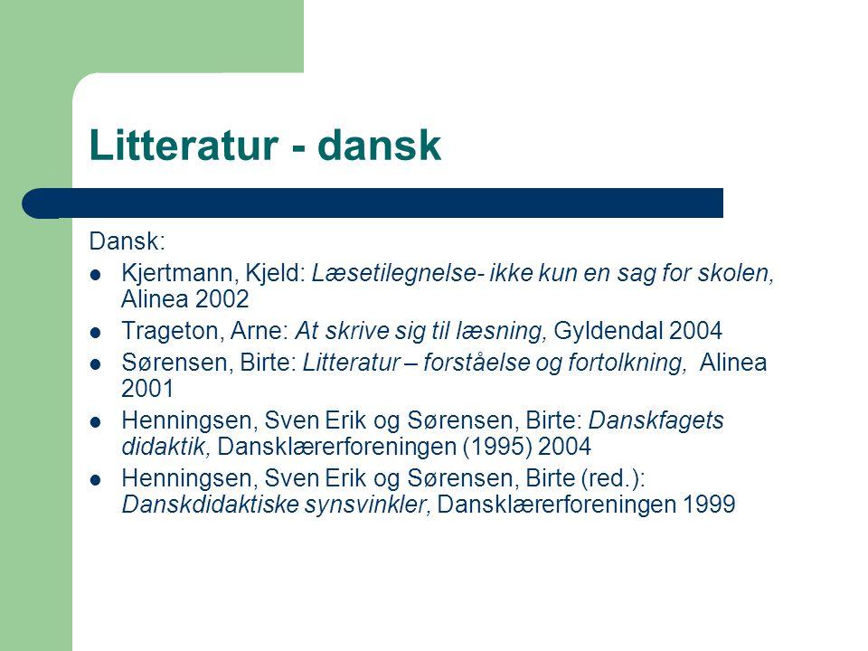 Litteratur - dansk Dansk: