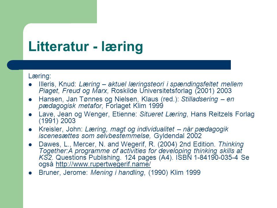 Litteratur - læring Læring: