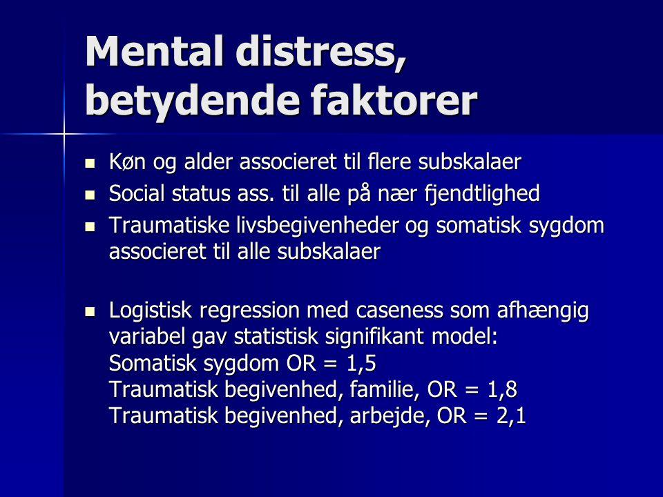 Mental distress, betydende faktorer