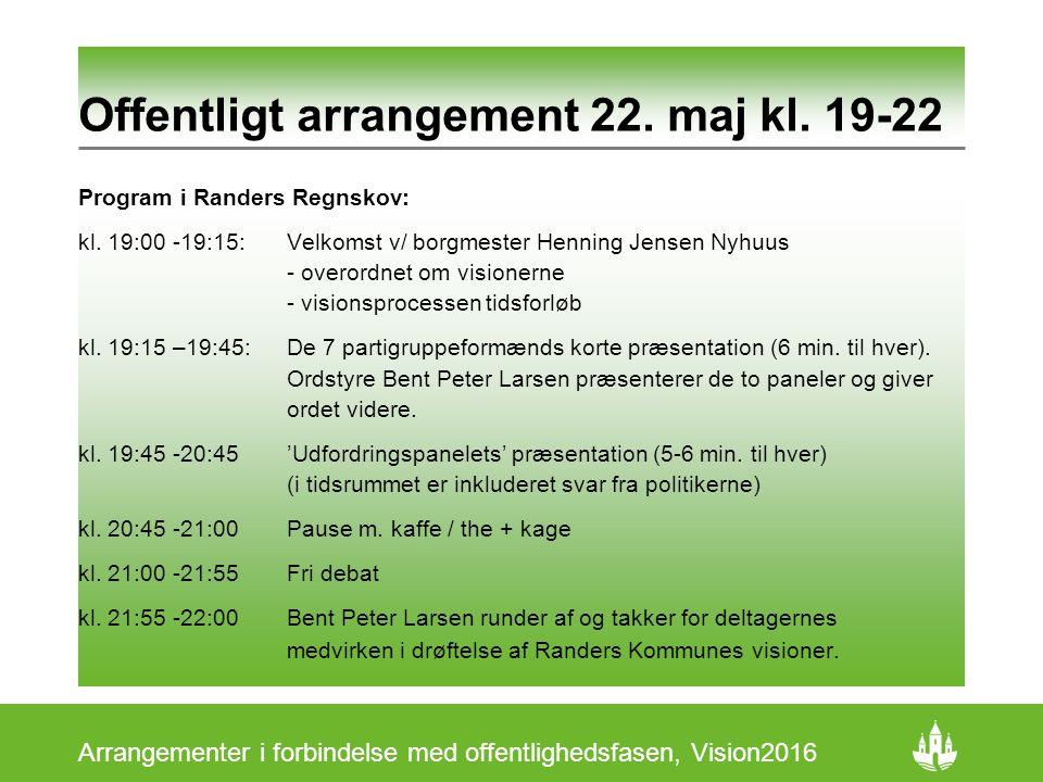 Offentligt arrangement 22. maj kl. 19-22