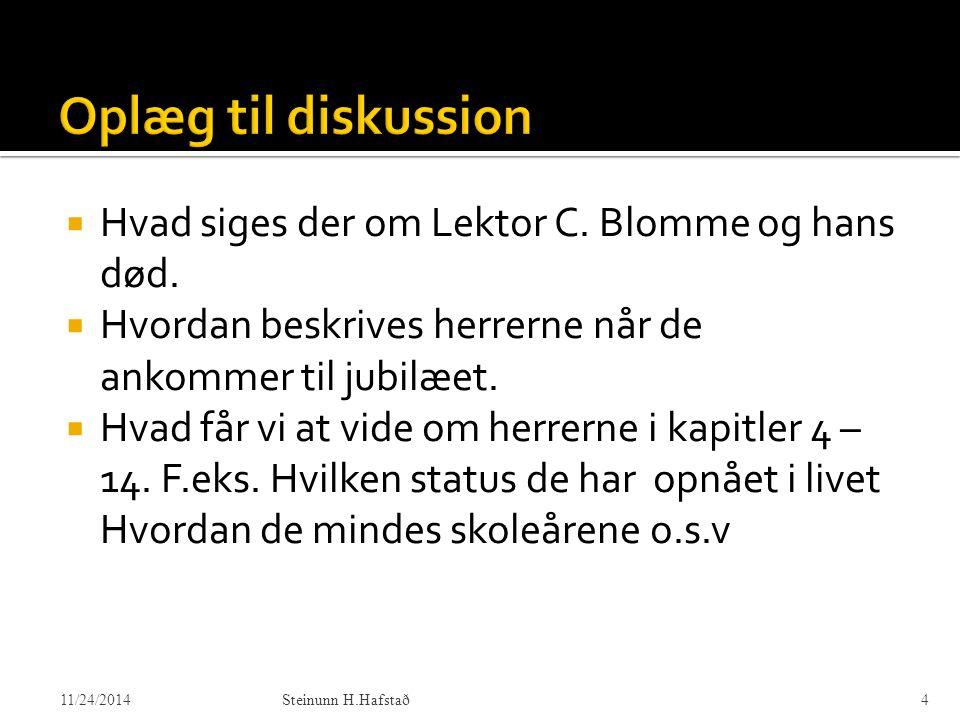 Oplæg til diskussion Hvad siges der om Lektor C. Blomme og hans død.