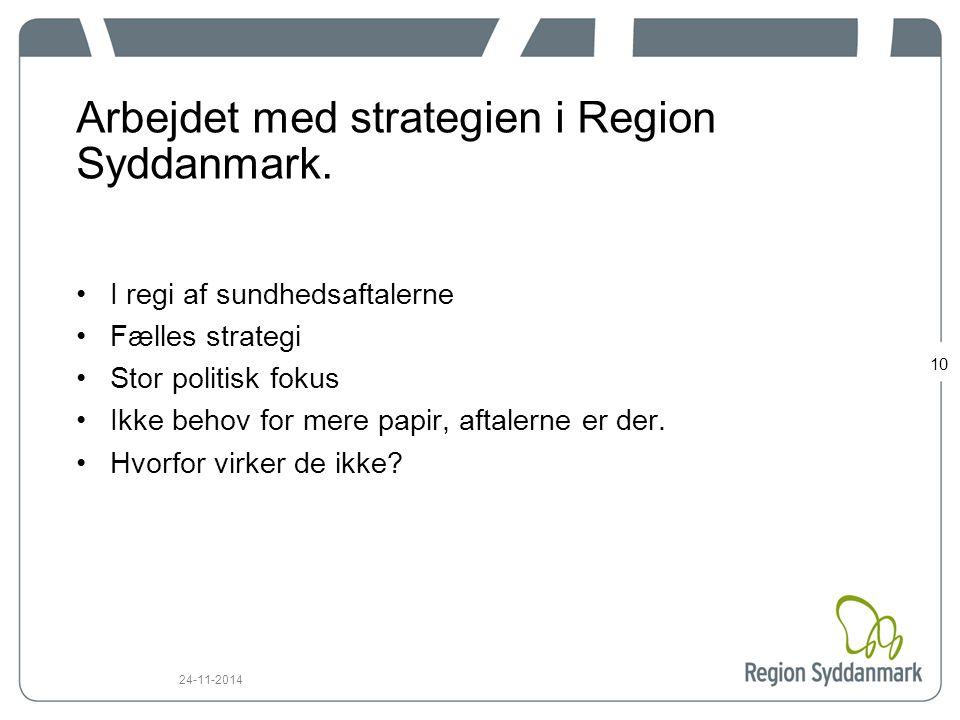 Arbejdet med strategien i Region Syddanmark.
