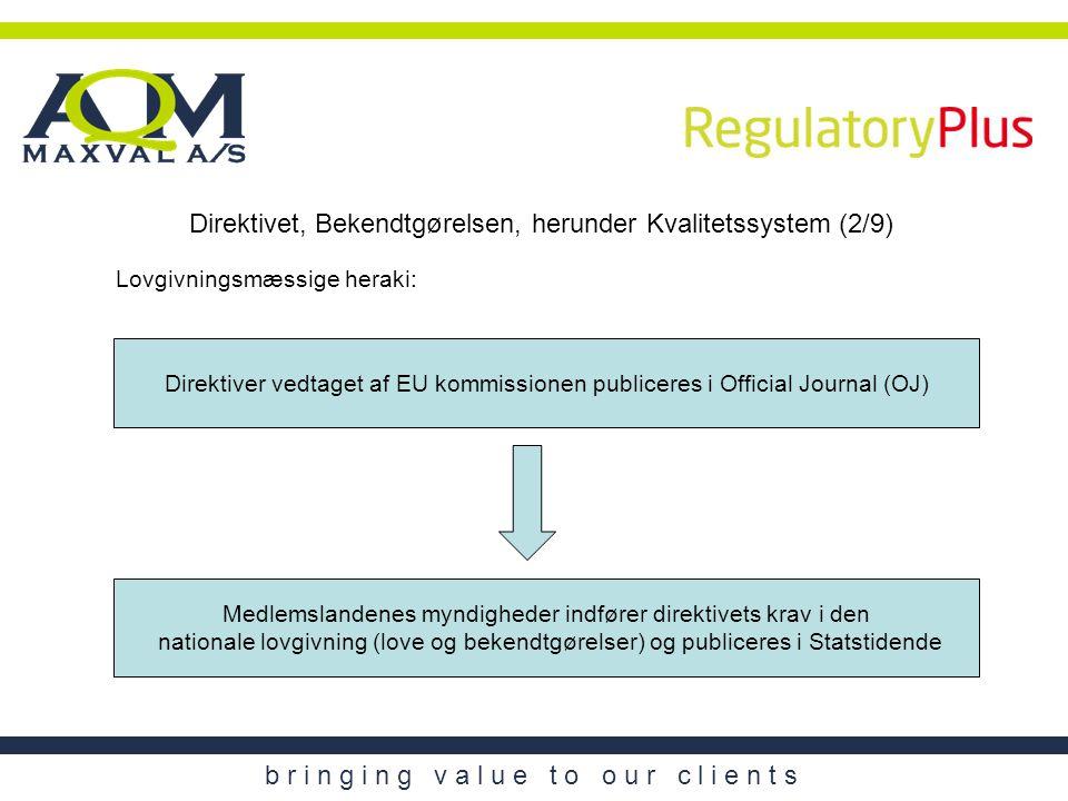 Direktivet, Bekendtgørelsen, herunder Kvalitetssystem (2/9)