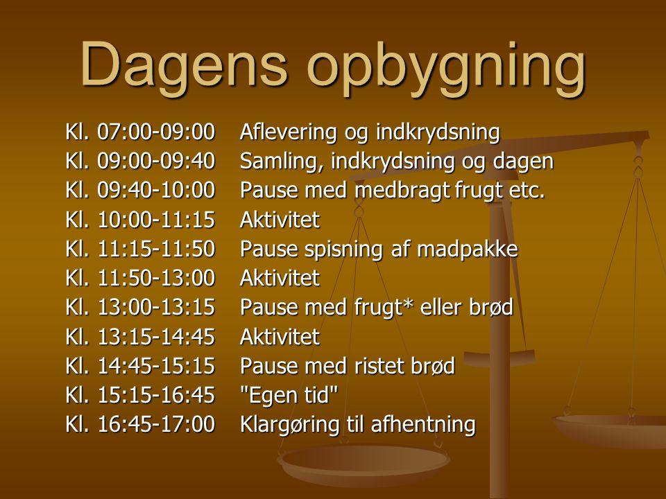 Dagens opbygning Kl. 07:00-09:00 Aflevering og indkrydsning