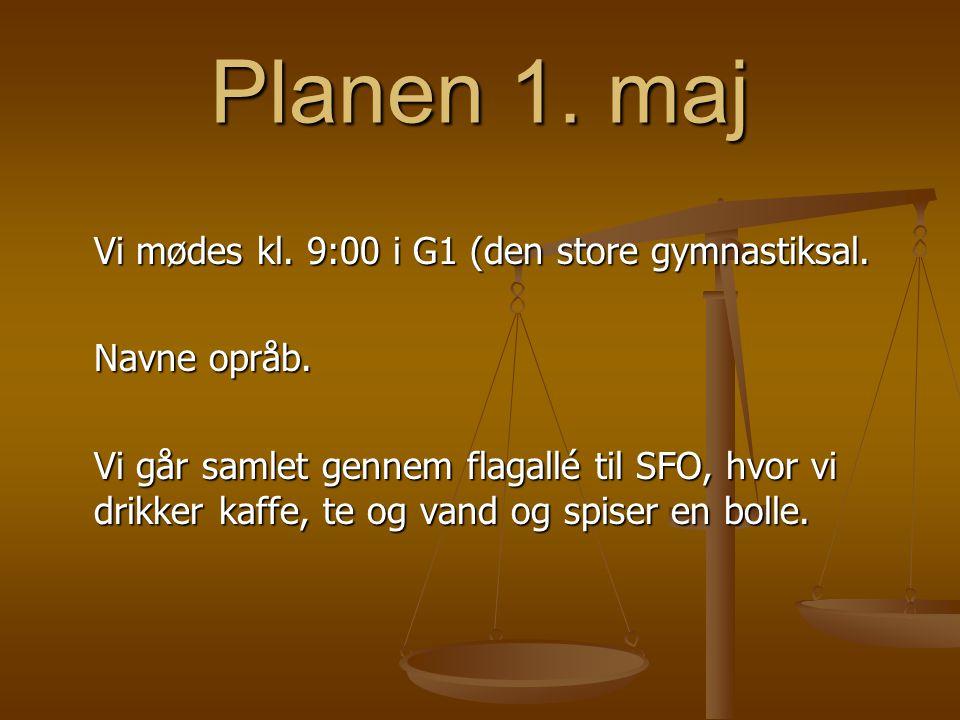 Planen 1. maj Vi mødes kl. 9:00 i G1 (den store gymnastiksal.