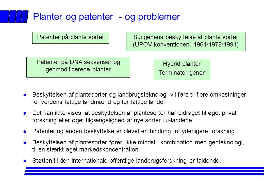 Planter og patenter - og problemer