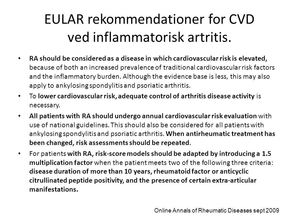EULAR rekommendationer for CVD ved inflammatorisk artritis.