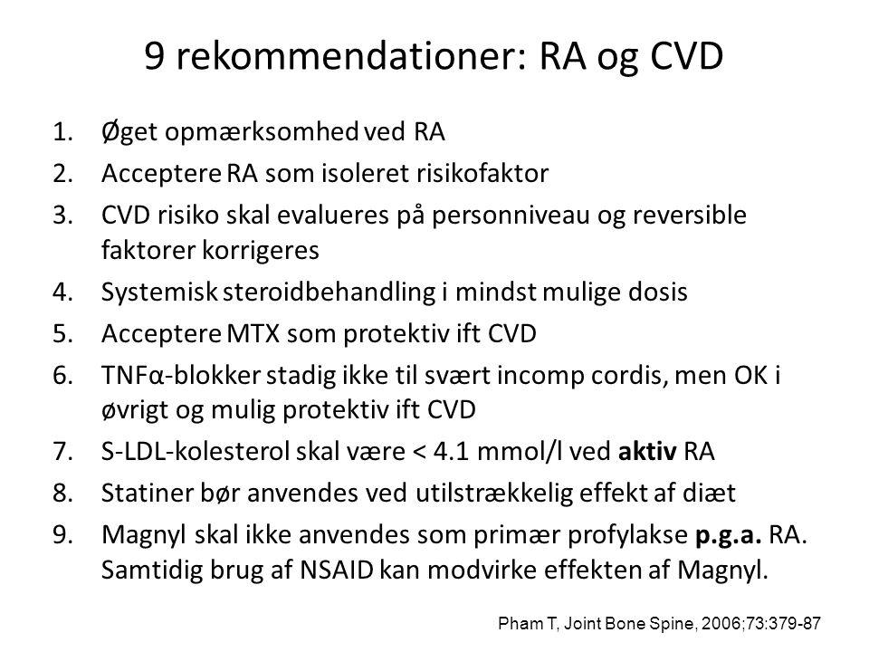 9 rekommendationer: RA og CVD