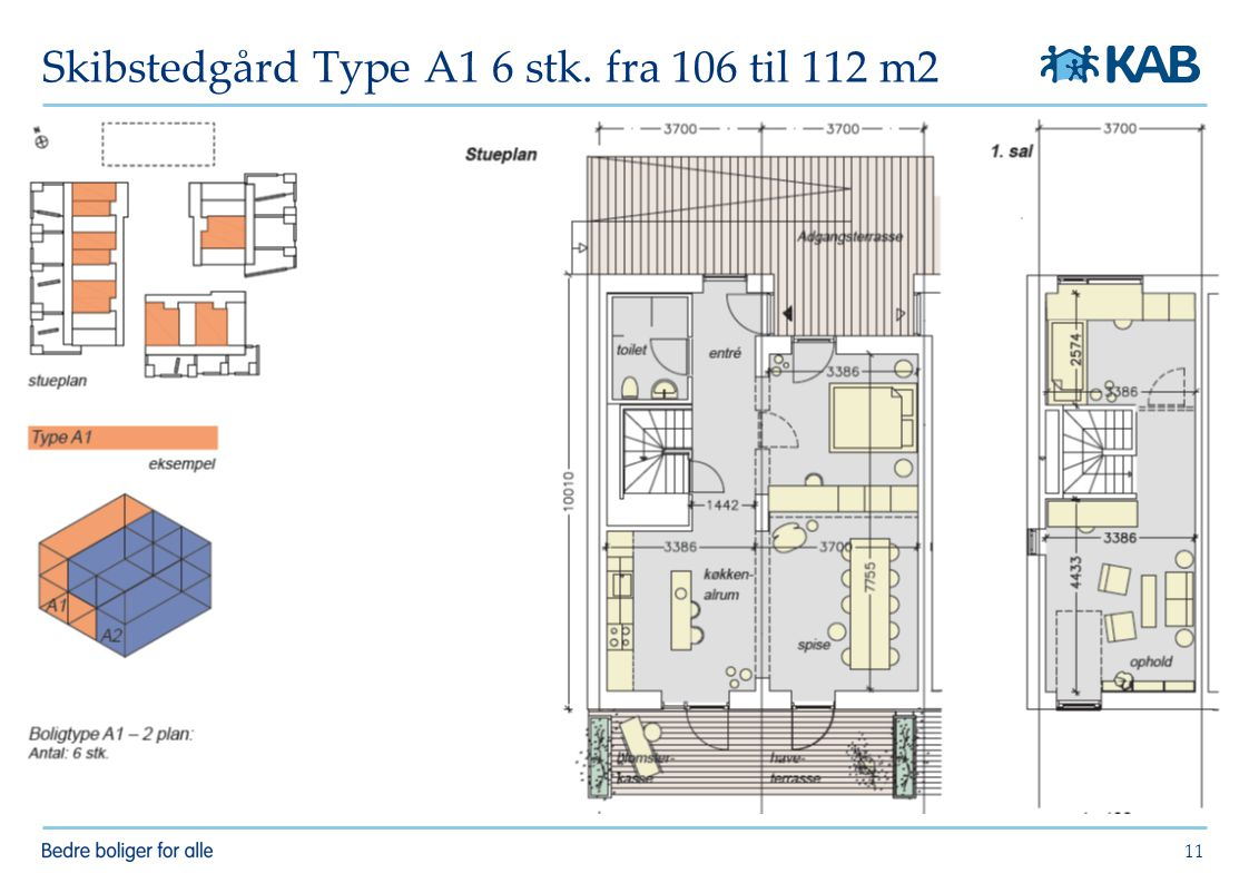 Skibstedgård Type A1 6 stk. fra 106 til 112 m2