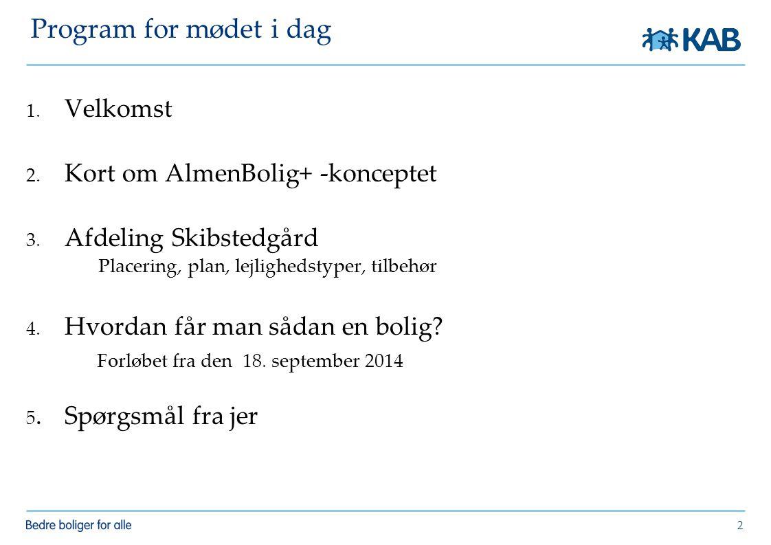 Program for mødet i dag Velkomst Kort om AlmenBolig+ -konceptet