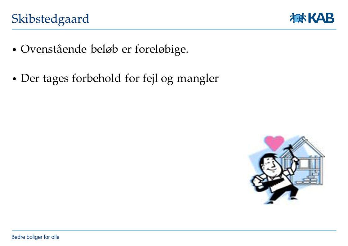 Skibstedgaard Ovenstående beløb er foreløbige.