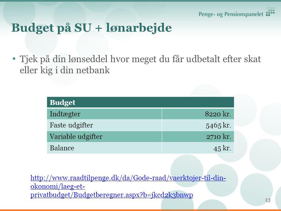 Budget på SU + lønarbejde