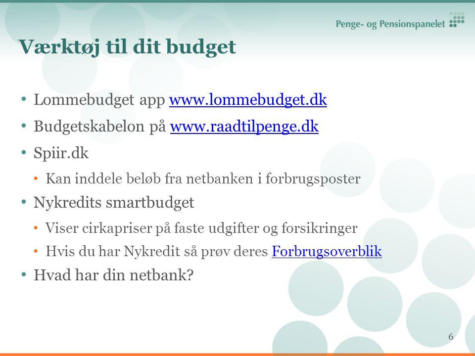 Værktøj til dit budget Lommebudget app www.lommebudget.dk
