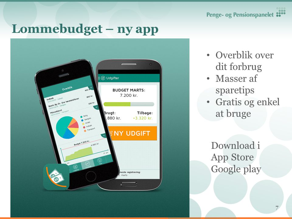 Lommebudget – ny app Overblik over dit forbrug Masser af sparetips