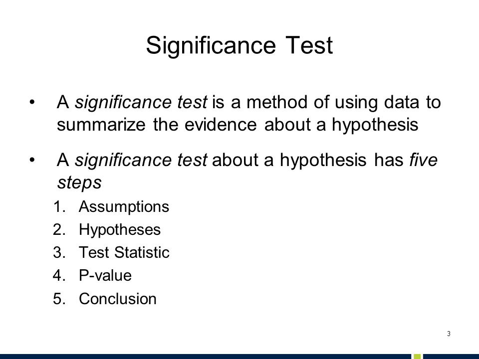 Significance Test A significance test is a method of using data to summarize the evidence about a hypothesis.