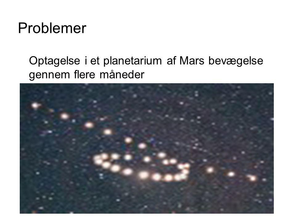 Problemer Optagelse i et planetarium af Mars bevægelse gennem flere måneder