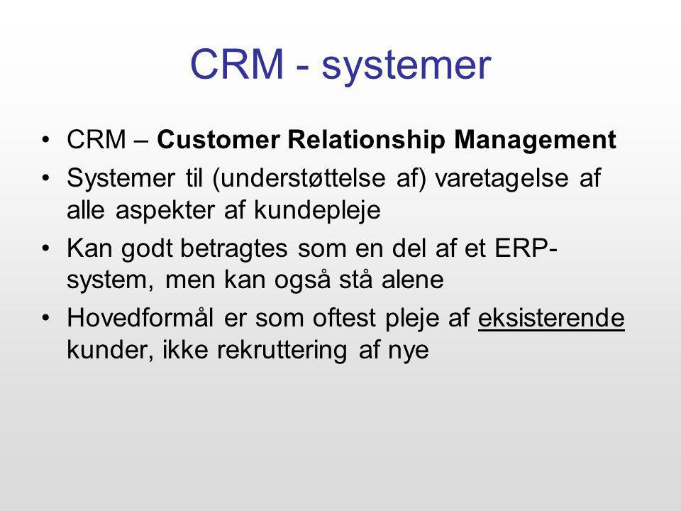 CRM - systemer CRM – Customer Relationship Management