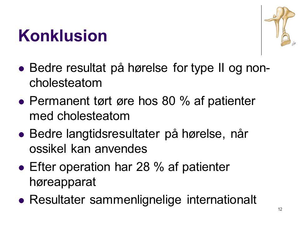 Konklusion Bedre resultat på hørelse for type II og non-cholesteatom