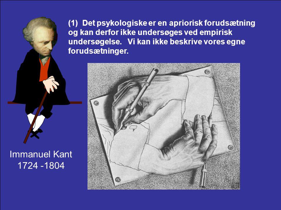 (1) Det psykologiske er en apriorisk forudsætning og kan derfor ikke undersøges ved empirisk undersøgelse. Vi kan ikke beskrive vores egne forudsætninger.