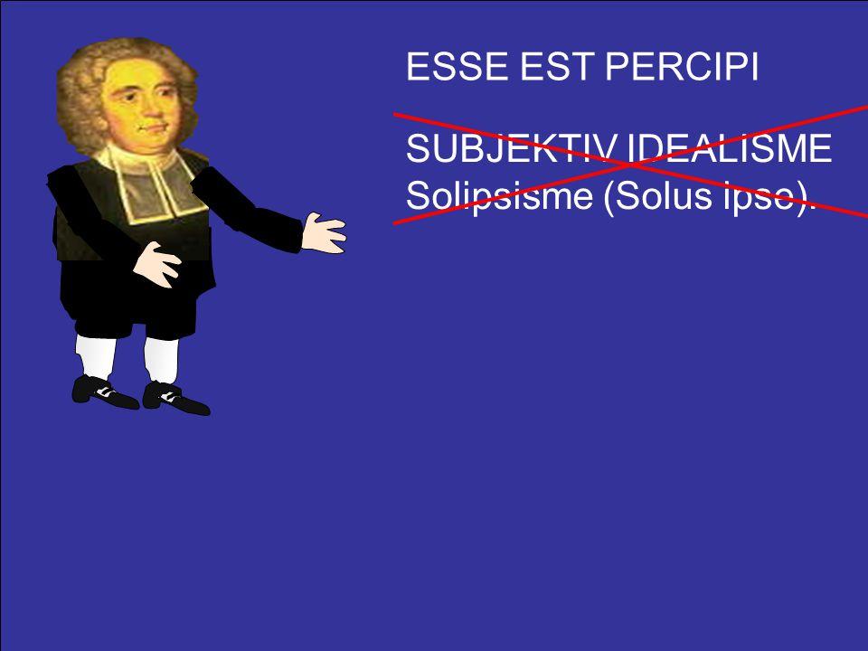 ESSE EST PERCIPI SUBJEKTIV IDEALISME Solipsisme (Solus ipse).