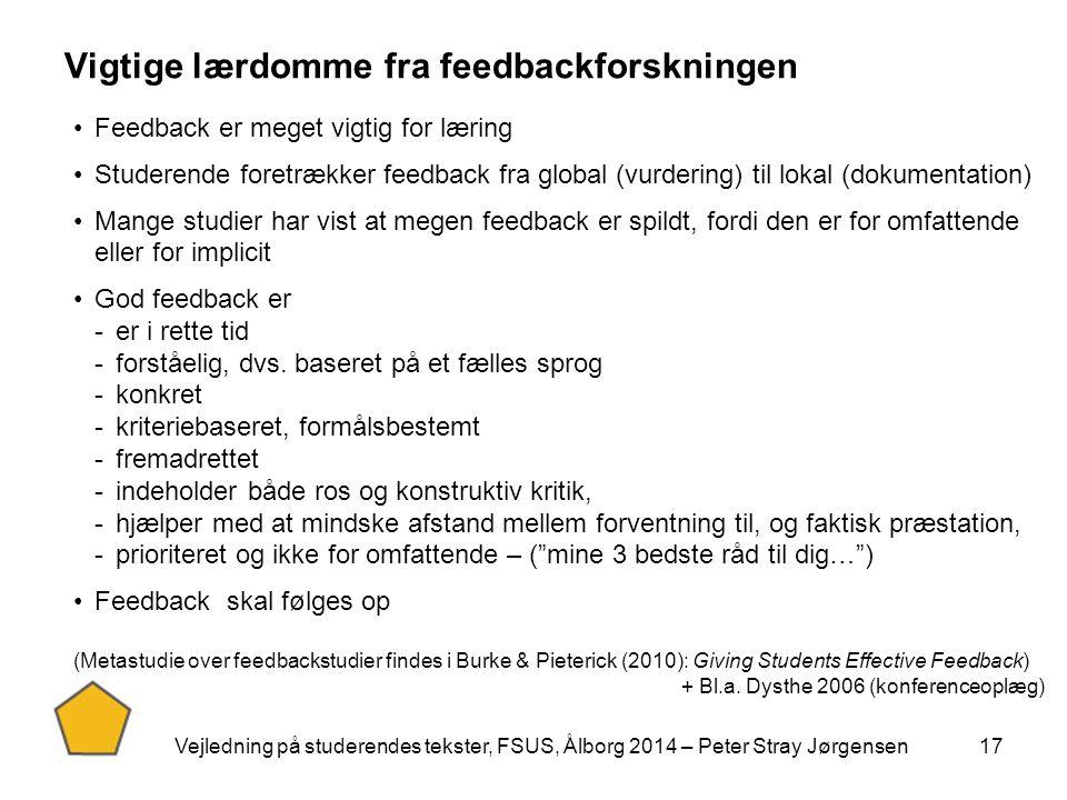 Vigtige lærdomme fra feedbackforskningen