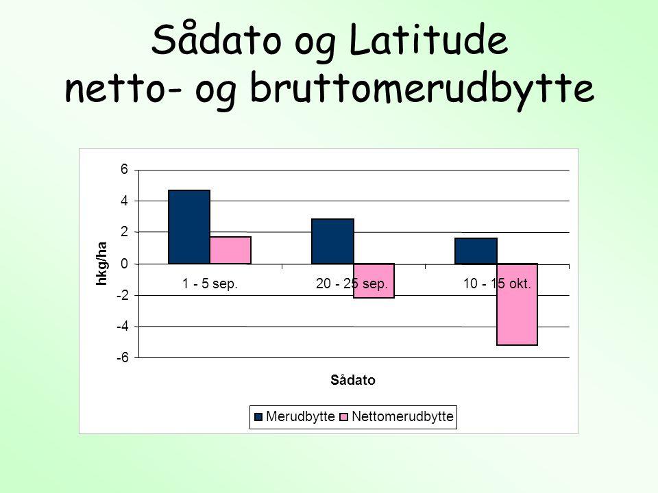 Sådato og Latitude netto- og bruttomerudbytte