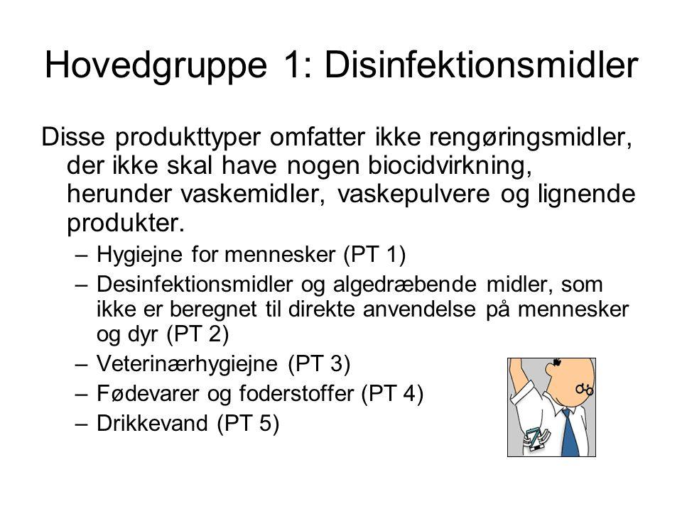 Hovedgruppe 1: Disinfektionsmidler
