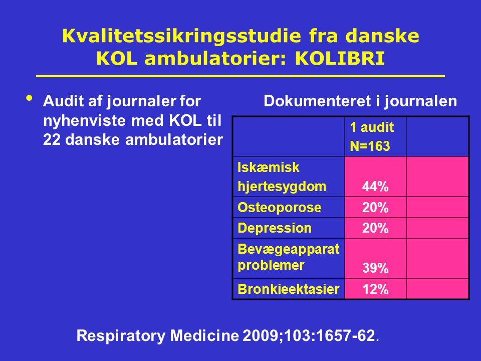Kvalitetssikringsstudie fra danske KOL ambulatorier: KOLIBRI