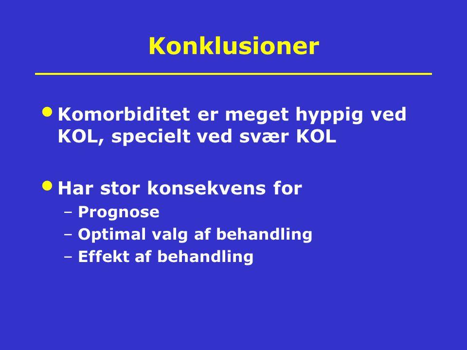 Konklusioner Komorbiditet er meget hyppig ved KOL, specielt ved svær KOL. Har stor konsekvens for.