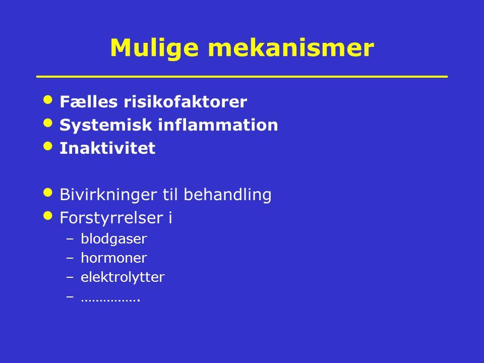 Mulige mekanismer Fælles risikofaktorer Systemisk inflammation