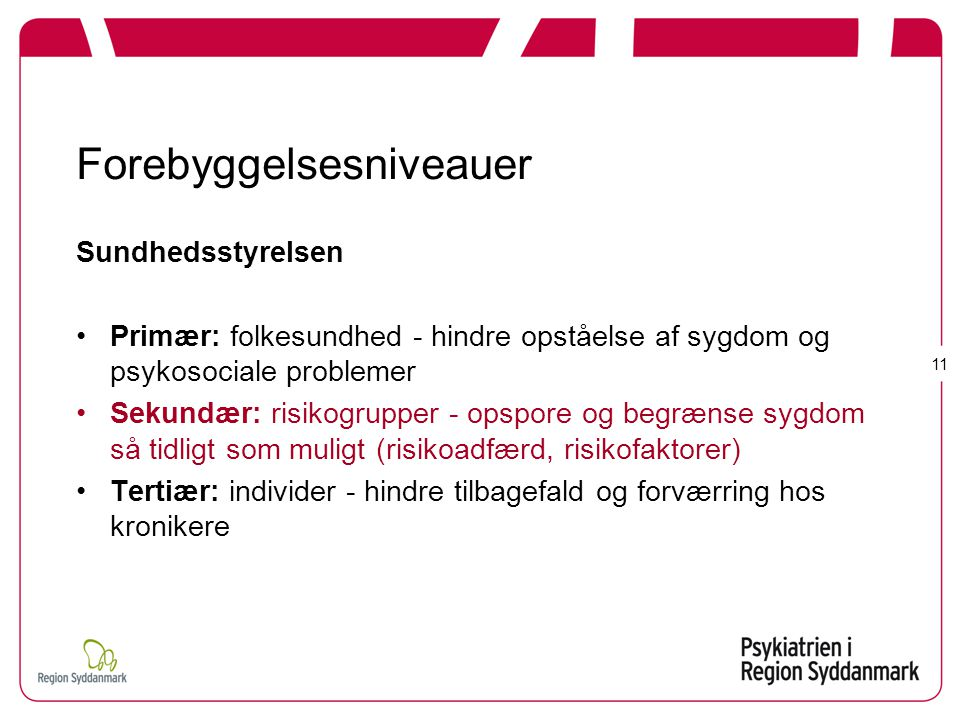 Forebyggelsesniveauer