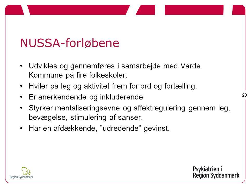 NUSSA-forløbene Udvikles og gennemføres i samarbejde med Varde Kommune på fire folkeskoler. Hviler på leg og aktivitet frem for ord og fortælling.