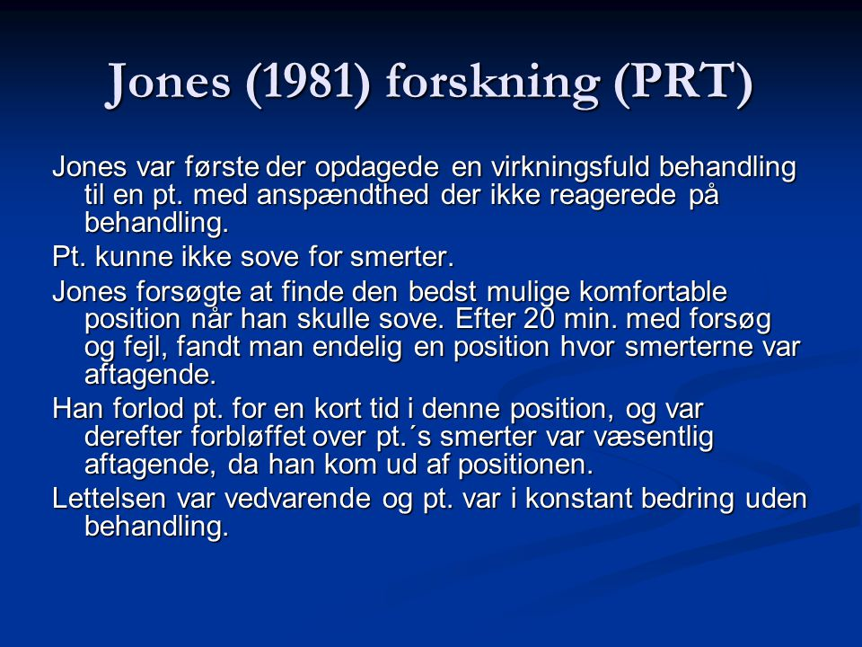Jones (1981) forskning (PRT)