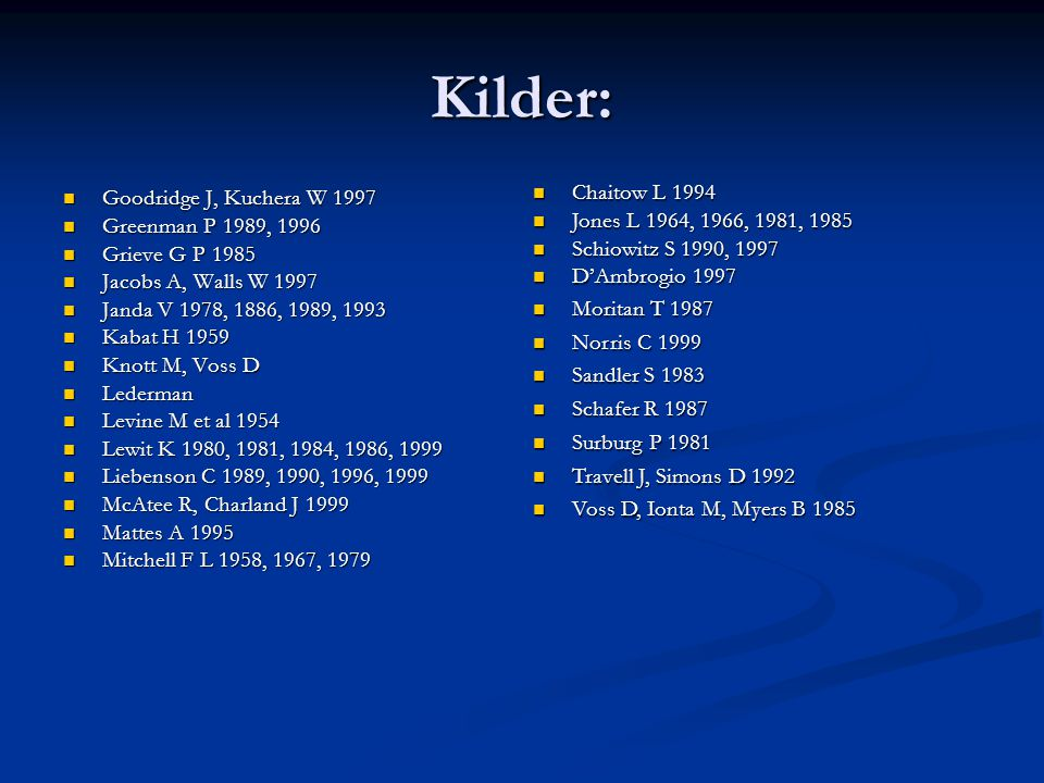 Kilder: Chaitow L 1994 Goodridge J, Kuchera W 1997