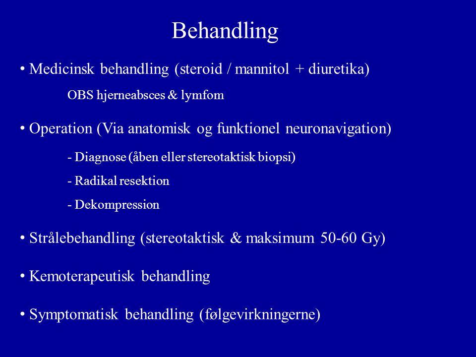 Behandling Medicinsk behandling (steroid / mannitol + diuretika)