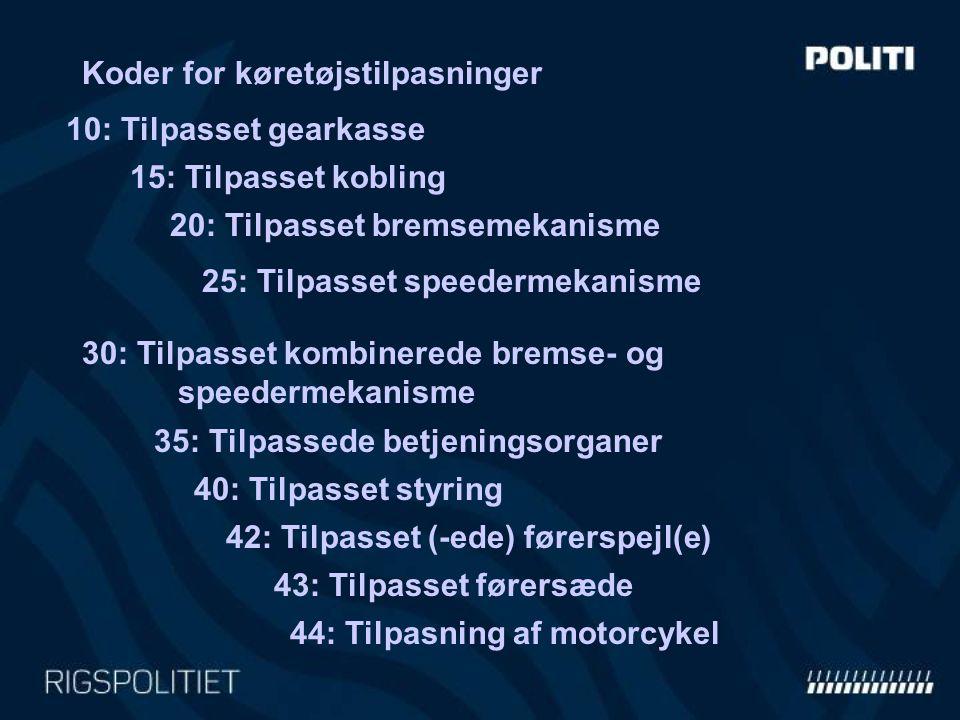 Koder for køretøjstilpasninger