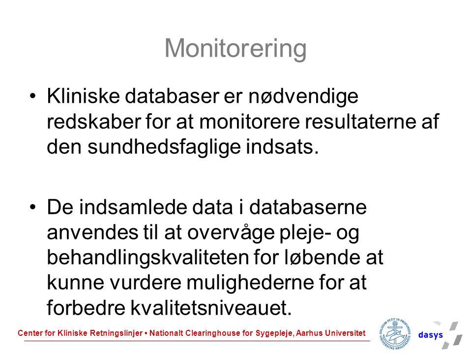Monitorering Kliniske databaser er nødvendige redskaber for at monitorere resultaterne af den sundhedsfaglige indsats.