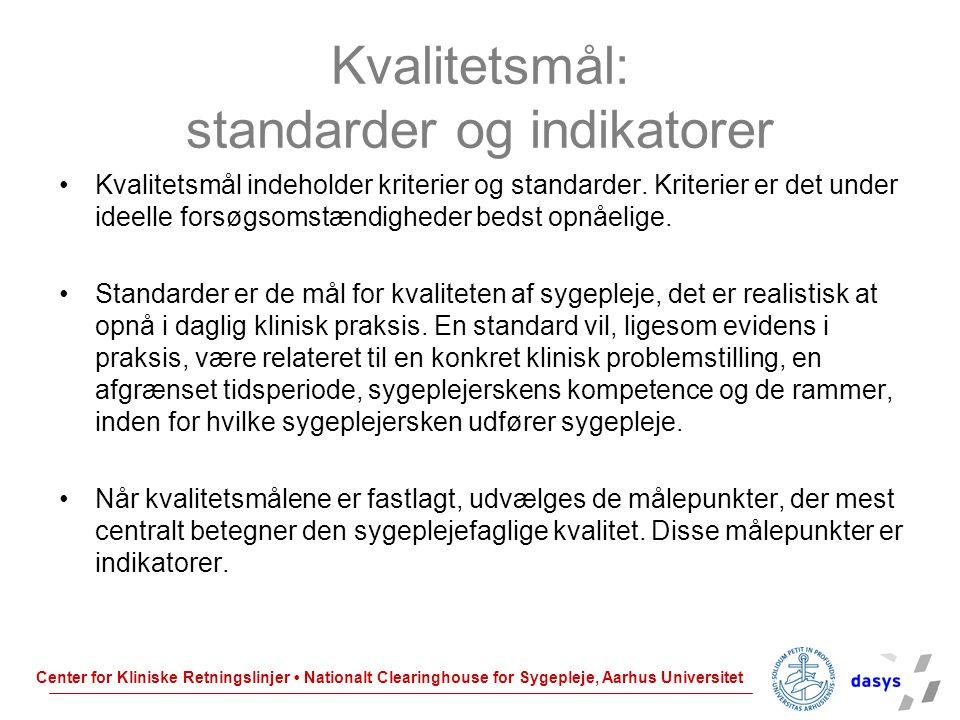 Kvalitetsmål: standarder og indikatorer