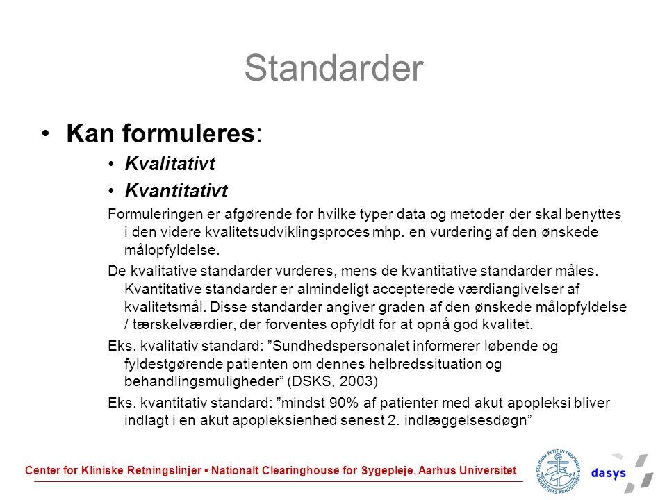 Standarder Kan formuleres: Kvalitativt Kvantitativt