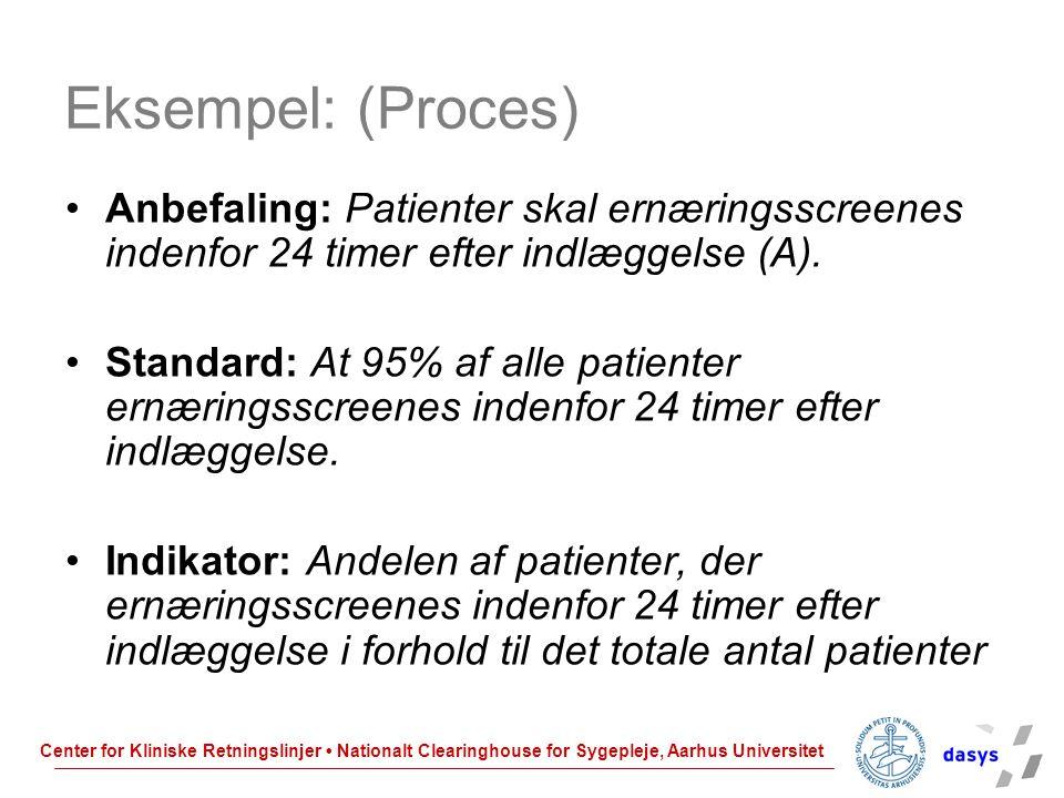 Eksempel: (Proces) Anbefaling: Patienter skal ernæringsscreenes indenfor 24 timer efter indlæggelse (A).