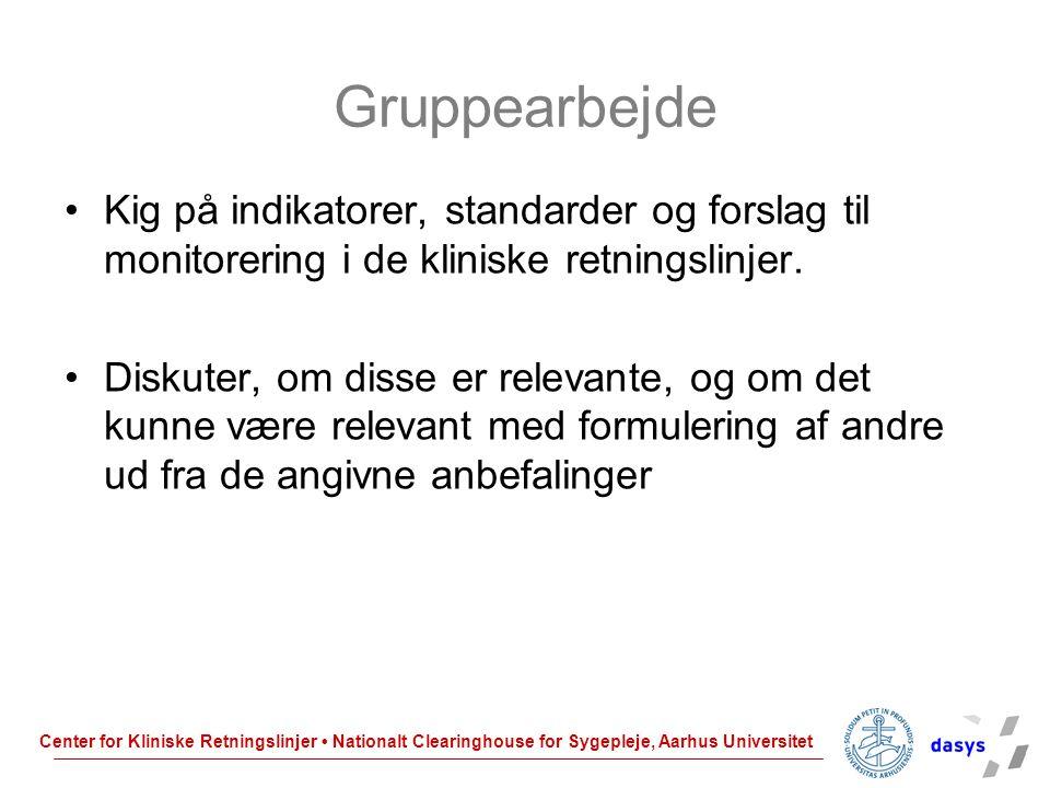 Gruppearbejde Kig på indikatorer, standarder og forslag til monitorering i de kliniske retningslinjer.
