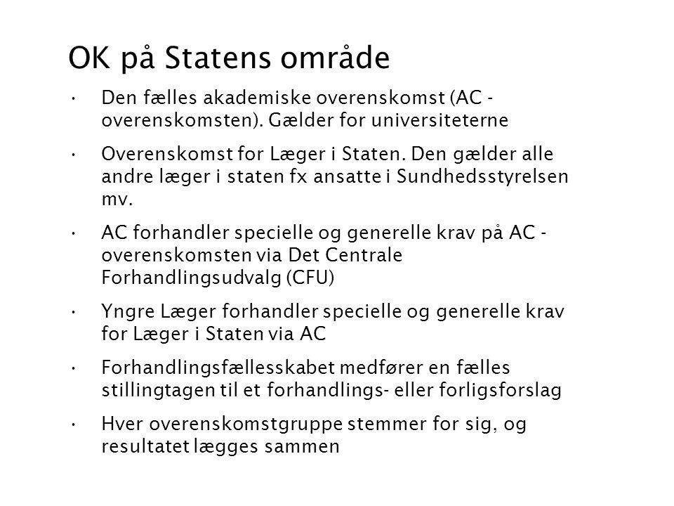 OK på Statens område Den fælles akademiske overenskomst (AC -overenskomsten). Gælder for universiteterne.