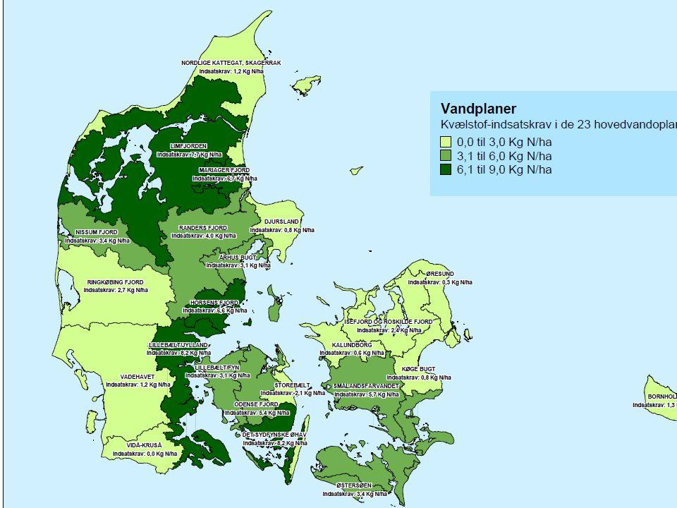 Efterafgrøder FOI og DJF antager få sædskifteændringer og jævn placering i DK. DMU angiver at der er plads til flere efterafgrøder (250-500.000 ha)