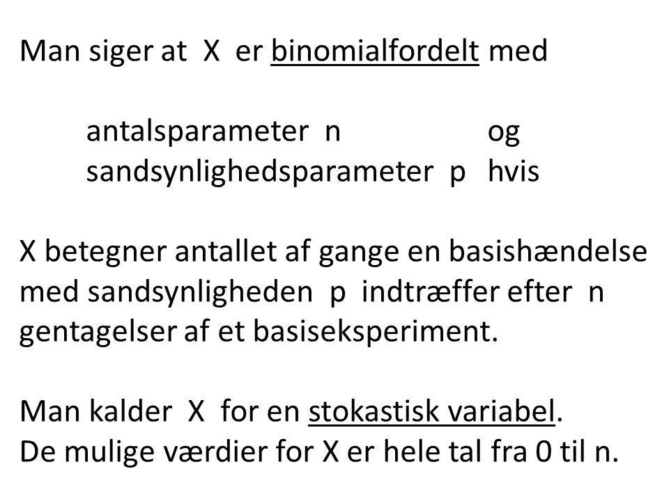 Man siger at X er binomialfordelt med