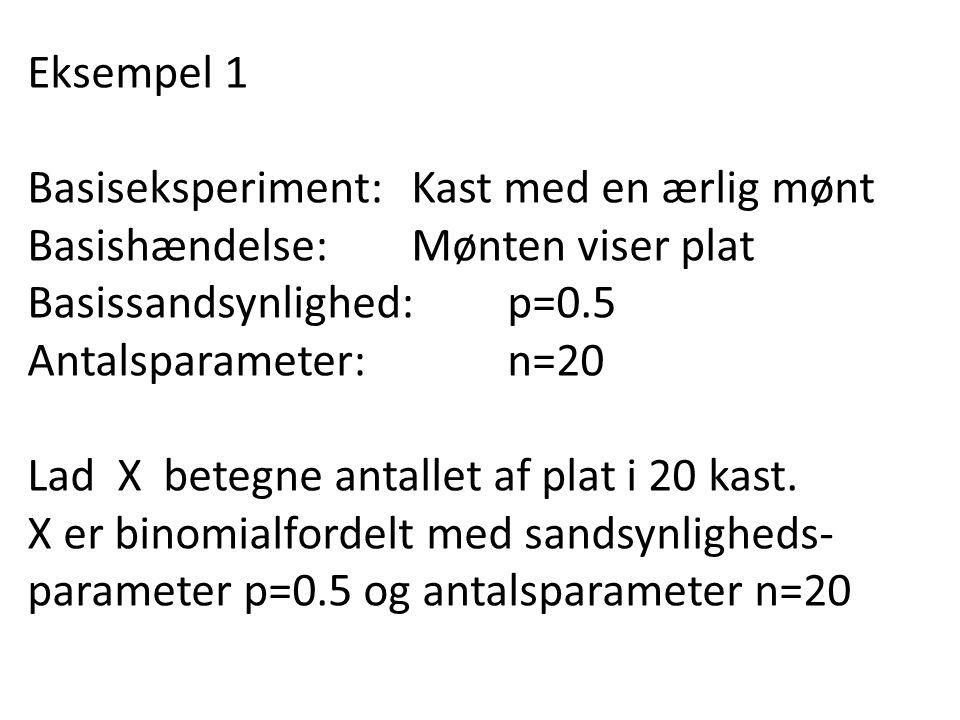 Eksempel 1 Basiseksperiment: Kast med en ærlig mønt. Basishændelse: Mønten viser plat. Basissandsynlighed: p=0.5.