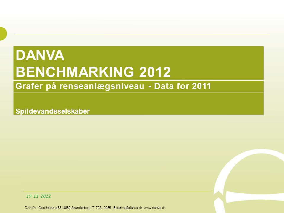 DANVA BENCHMARKING 2012 Grafer på renseanlægsniveau - Data for 2011